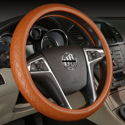 New arrivals Genuine leather Cowhide brown car steering wheel cover 4 season universal 38cm for Corolla Camry Prado Highlander(China (Mainland))