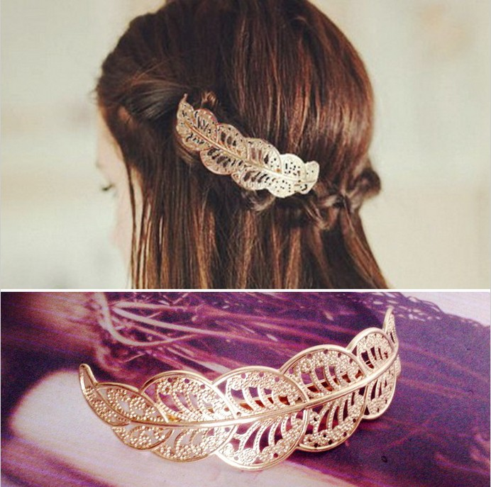 New revenue model of ancient gold in 2015 opened the lace clip first women jewelry Leaves hair clip hair clip headdress(China (Mainland))