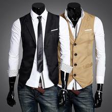 Fashion High quality Men Vest Mens Casual Suit V-necked Slim Fit Vests khaki/black M--XXL ,C460(China (Mainland))
