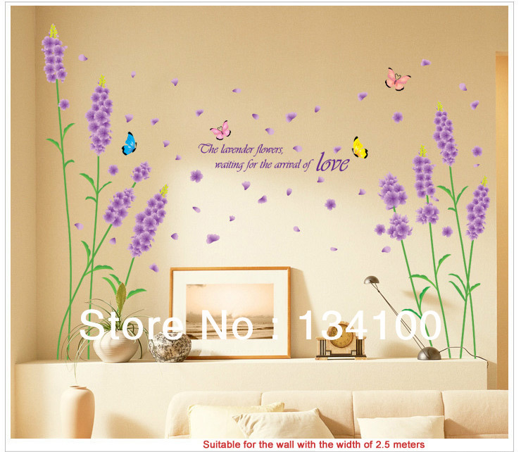 flower of Lavender waterproof and removable wall stickers/vinyls/ decals/wall art for bedroom decor home poster(China (Mainland))