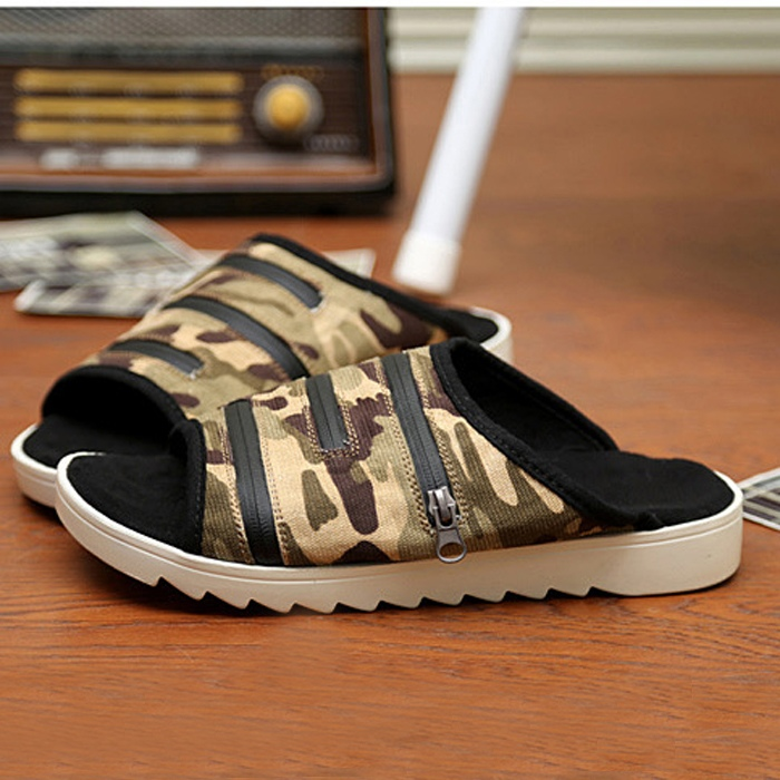 Hot Sale Summer Sandals Camouflage Zipper Genuine Leather Men Sandals Plus Size Free Shipping 5 Colors  Size 39-44<br><br>Aliexpress