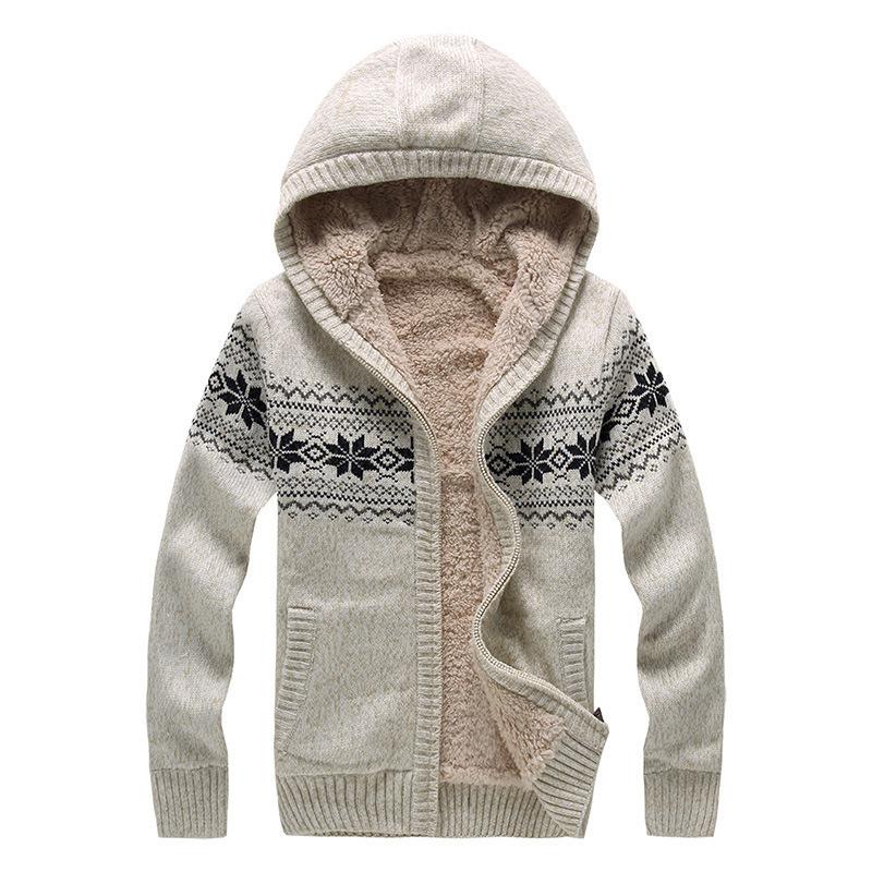 2015 moda modelli di maglieria mens maglioni maglione per gli uomini con cappuccio inverno manica lunga in velluto di lana cardigan masculino(China (Mainland))