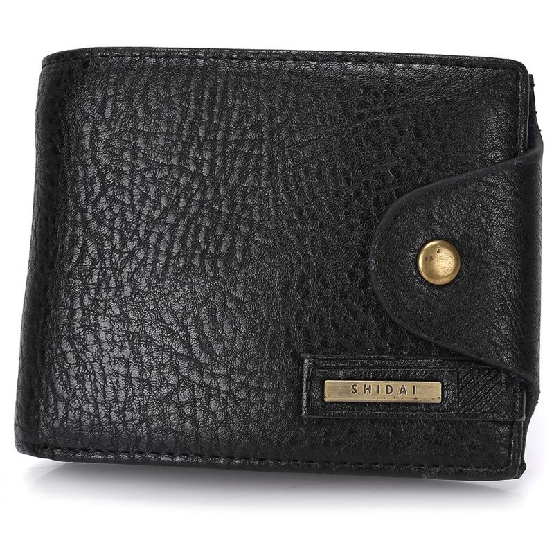 2016 men wallets luxury Genuine leather brand purse coin holder luxury short male money bag dollar trifold mini portfolio man(China (Mainland))