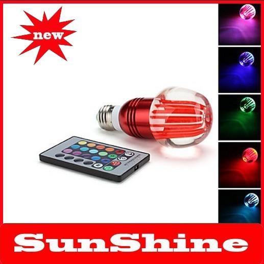 Free shipping new E27 3W RGB Light Apple Shaped LED Crystal Ball Bulb (AC 85-265V)(China (Mainland))