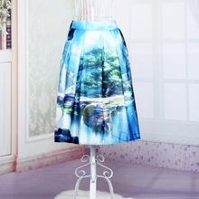 2016 New Spring And Summer Fashion Skirt Landscape Printed A-Line Elastic High Waist Midi Tutu Blue Color Sexy Fashion Skirts