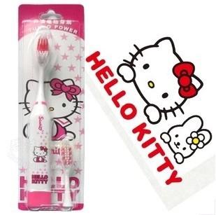 Kawaii Cartoon Hello Kitty&Doraemon Electric Toothbrush with 1 Toothbrush Head Accessories for Bathroom Retail KCS(China (Mainland))