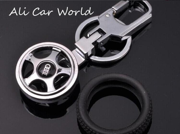 Good Quality Fashion Creative Funny Auto Tire Models Keychain Metal Car Logo VW Or Audi Key Chain Ring(China (Mainland))