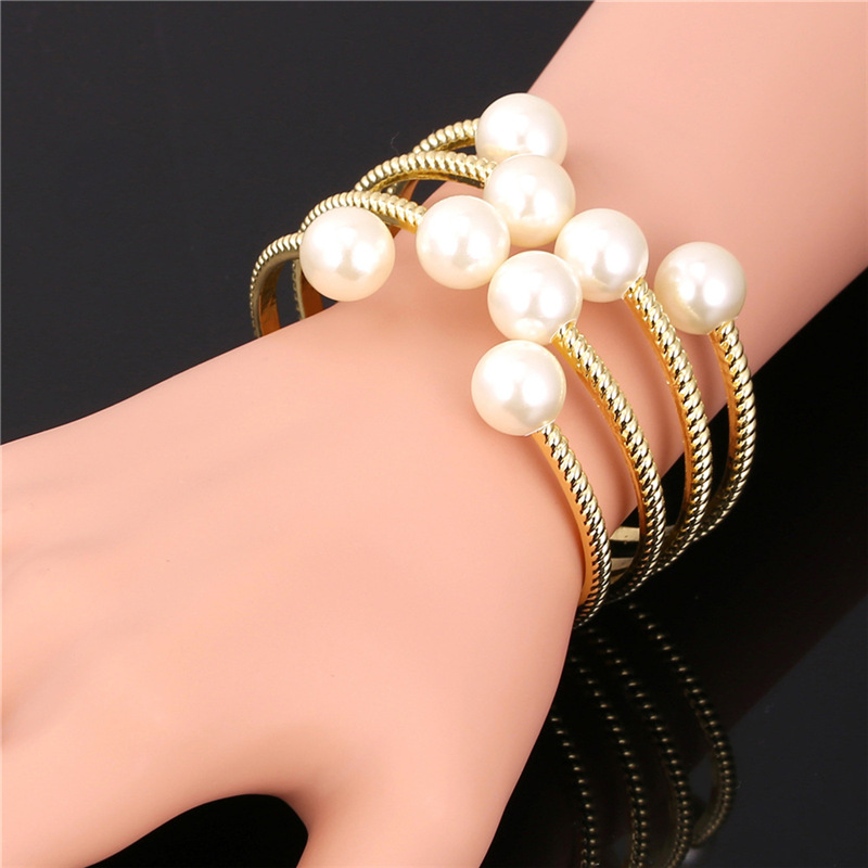 Pearl Bangle 18K Gold Plated Fashion Jewelry Wholesale Vogue Gift For Women Unique Style Big Cuff Bracelet H1647(China (Mainland))