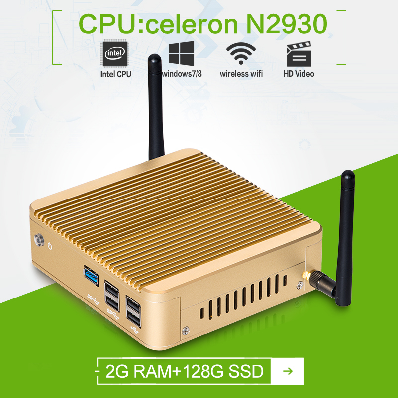 Powerful mini pc industrial Quad -core Celeron N2930 1.83GHZ 2G RAM 128G SSD with linux embedded server tiny desktop(China (Mainland))