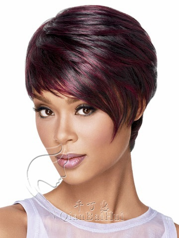 Professional Afro/America Haircut Wigs Short Hair Yaki Straight Wig with Long Bangs for Sexy Women Free Shipping sw0114(China (Mainland))