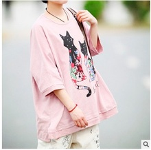 New product release in the spring of 2016, the original design pure   cotton   loose big yards of women's T-shirt