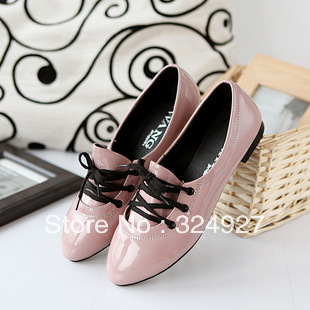 2016 summer single shoes autumn shoes japanned leather pointed toe flat heel flat fashion female shoes+Free Shopping(China (Mainland))