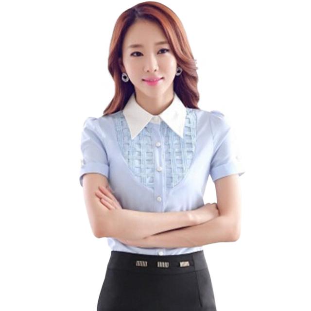 Летом женская мода одежды с коротким рукавом рубашки элегантный тонкий пр Большой ...