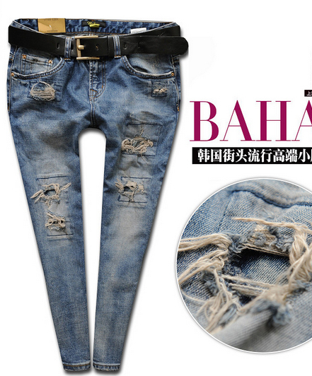 New fashion Spring patch hole harem pants female skinny pants blue denim JEANS women trousers size 25-30 free shipping GD-165CОдежда и ак�е��уары<br><br><br>Aliexpress