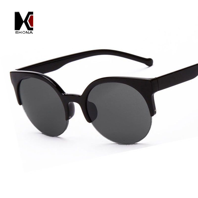 Alloy Hinge Summer Style 6 Colors Vintage Cat Eye Sunglasses Stylish Women Eyewear Semi-Rimless Sun Glasses Men Round Glasses(China (Mainland))