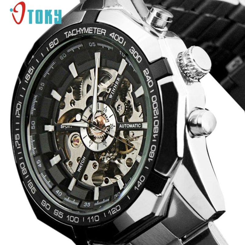 Excellent Quality New Brand Luxury Watch Mens Automatic Skeleton Mechanical Wristwatches Stainless Steel Relogio Masculino(China (Mainland))