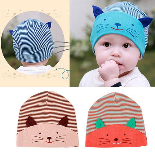 NEW Cute 3D Cat Striped Baby Infant Kid Boy Girl Soft Warm Hat Cap Cotton Beanie
