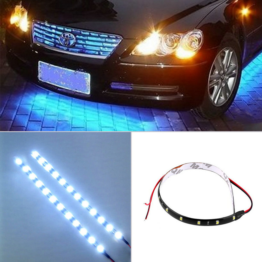New arrival 30cm 12V 15 LED Car Auto Motorcycle Waterproof Strip Lamp Flexible Light(China (Mainland))