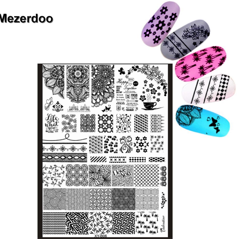 Mezerdoo Super Big Lace Side Flower Stamping 18x25cm Nail Art DIY ...