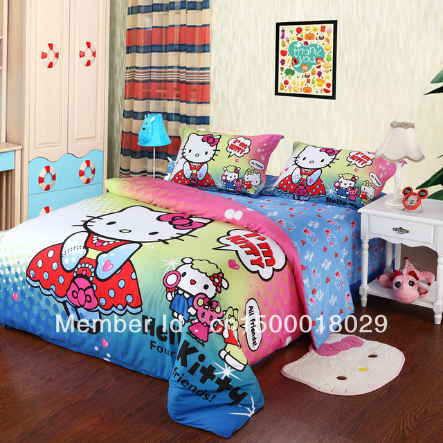 Free Shipping! 100% cotton Fashion cartoon purple SpongeBob and Cute Hello kitty Queen/King size 4PCS bedding set  for children