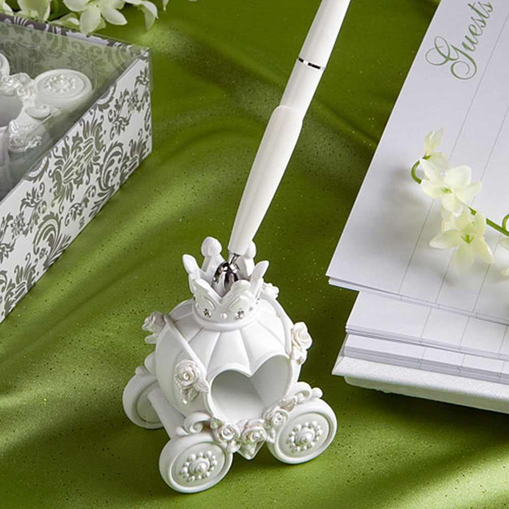 Fashion Wedding Pen with Elegent Pumpkin Coach Pen Stand Excellent Wedding Supplies Wedding Decoration(China (Mainland))