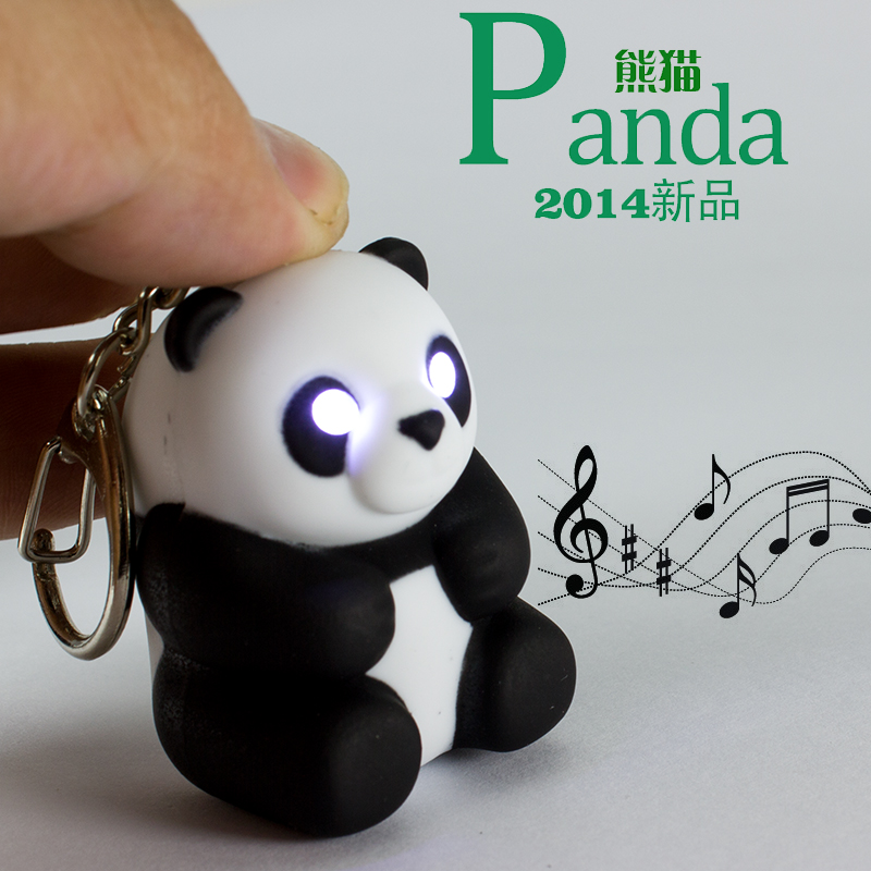 2016 Cute Panda keychain Toys with LED light and cute sound glowing Pendant  Dolls Gift Men Women Souvenirs<br><br>Aliexpress