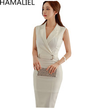 Buy HAMALIEL Summer Formal Brief OL dress 2017 Fashion Women Solid Sleeveless Notched Collar Bodycon Korean Style Pencil Work Dress for $35.99 in AliExpress store