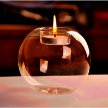 New Arrival Fashion Transparent Round Shape Glass Candle Holder Wedding Home Decorative With One Candle Romantic Dinner(China (Mainland))