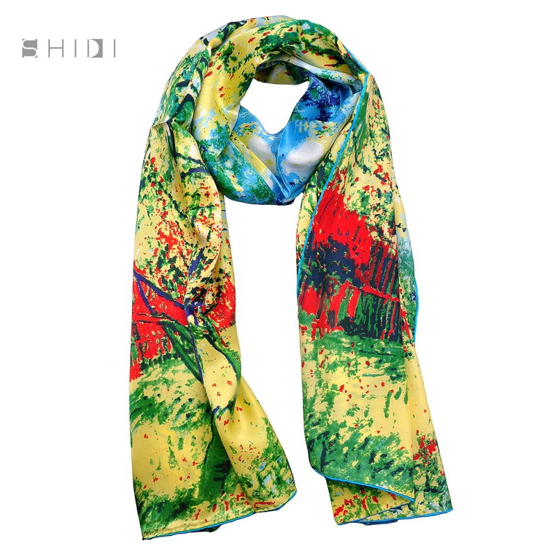 brand new bright colored 100 silk scarf vertical