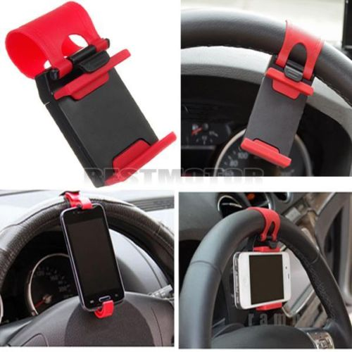 Car Bike Steering Wheel Clip Mount Holder For iPhone 4S 5 5S 5C for iPod for Samsung Galaxy S4 S5 Cell Phone GPS MP4 PDA(China (Mainland))