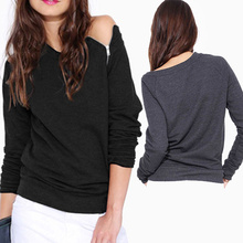 New Arrival 2015 Spring Fashion Solid Color Long-sleeved Side Zipper Sexy t Shirt Women Casual Women Clothing Tops Blusas XE3284(China (Mainland))