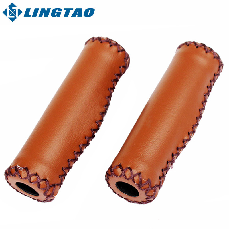 Fixed Gear Man-Made Vintage Grip Leather Cycling MTB Road Mountain Bike Bicycle Grips(China (Mainland))