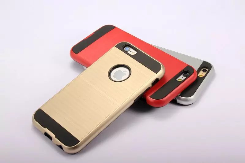 NEW Luxury Brushed Style Slim Armor Neo Hybrid Shockproof Back Cover for Apple iPhone 4 4S 5 5S SE 6 6S Plus Cell Phone Case(China (Mainland))