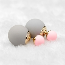2016 Newest High Quality Double Faced Pearl Stud Earrings 18 Candy Colors Mix Women Korea Rubber Fashion Jewelry Free Shipping(China (Mainland))