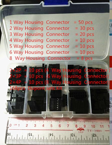 168pcs Dupont sets Kit with box 1P/2P/3P/4P/5P/6P/8P/2*2/2*3/2*4PIN Housing Plastic Shell Terminal Jumper Wire Connector set