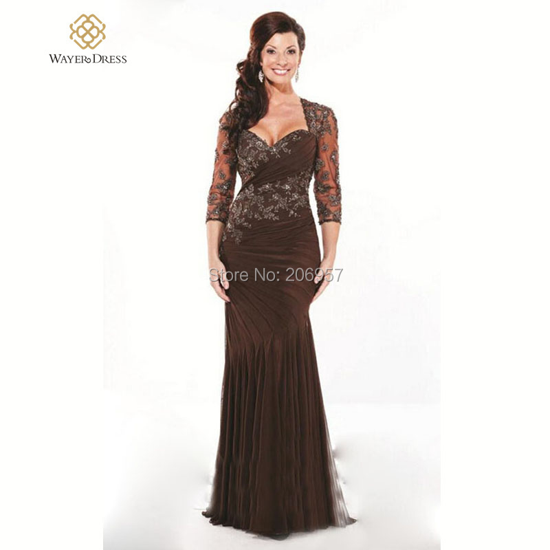 Mother of the bride dresses in brown wedding dresses asian for Brown lace wedding dress