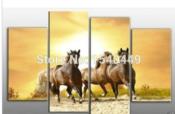 100% Hand-painted Modern Animal Running Horses Oil Painting On Canvas Art Wall Pictures for living room Home Decor 4 piece M4P50(China (Mainland))