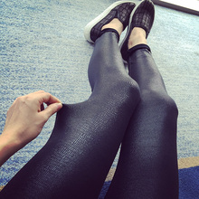 Fitness Women Sale Rushed Solid Leggins 2015 Spring Models Big European And American Leather Serpentine Stretch Warm Leggings