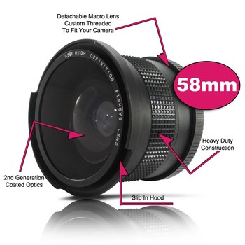 0.35x 58mm Super Fisheye Wide Angle Lens for 58 MM Canon Rebel T3i T3 T2i T1i T2 T3 700D 650D 600D 550D 500D 1100D 1000D 18-55mm