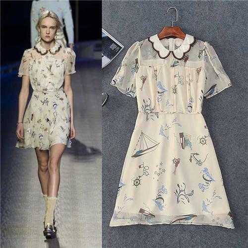 runway brand high quality short sleeve cute dress for lovely women beige peter pan collar silk dresses boat fish cartoon print(China (Mainland))