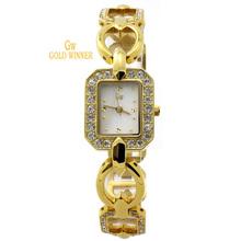 Ganador del oro estrenar moda mujeres del diamante niñas Shell cara relojes de acero inoxidable relojes de pulsera de cuarzo GW180033