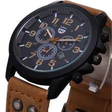 2015 New Business Quartz watch Men sport Military Watches Men Corium Leather Strap army wristwatch clock hours Complete Calendar(China (Mainland))