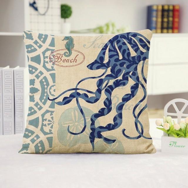 Морской стиль белье наволочки Hna осьминог черепаха матрос бытовой диванную подушку для опираясь на подушки без сердечника