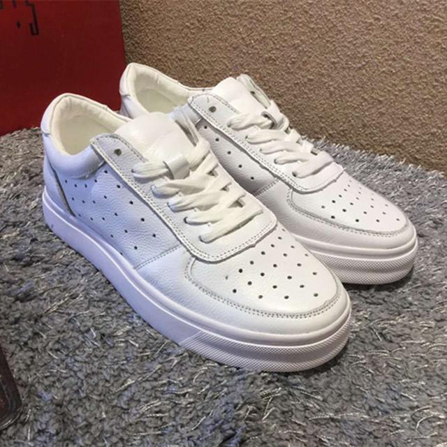 Обувь из натуральной Кожи 2016 Весна Лето Спортивная Обувь Женщины Белые Кроссовки мода на шнуровке обувь удобные дышащие D910