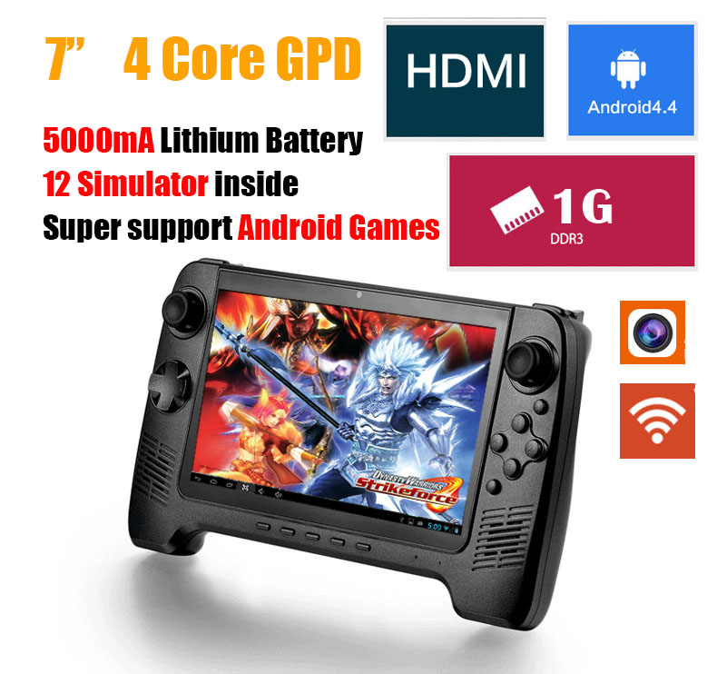 7 colorful inch screen 4 core Wifi Android 4.4 handheld Clone game player Consoles with 12 Simulator classical Video Game Player(China (Mainland))