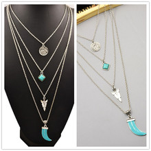 New fashion jewelry antique silver plated moon turquoise multi-layer necklaces gift for women girl N1739