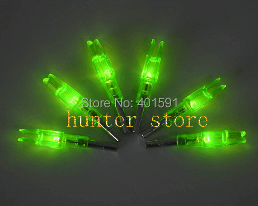 archery target lighted LED green arrow nock fletches fiberglass arrow for compound bow hunting 3pcs free shiping(China (Mainland))