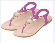Women sandals 2016 35-42 comfort sandals women Summer Classic Rhinestone fashion flat plus size sandals (China (Mainland))
