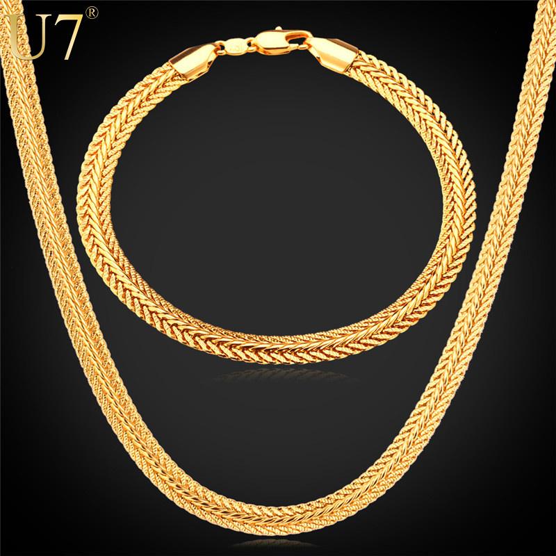 U7 Gold Necklace Set 18K Stamp Wholesale Trendy Gold Plated 6MM Wide 6 Size Snake Chain Necklace Bracelet Men's Jewelry Set S508(China (Mainland))