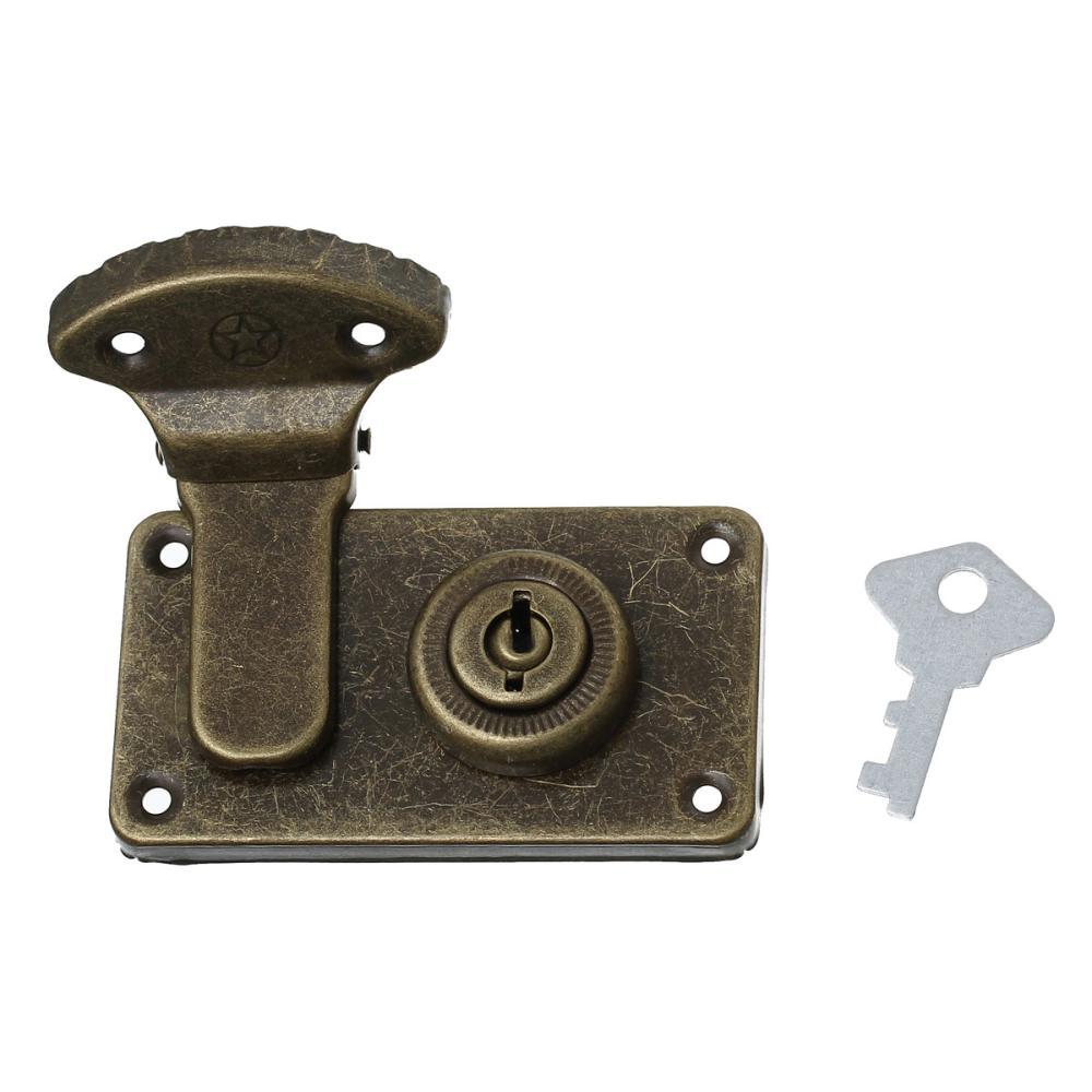 jewelry box locks latch with key antique bronze